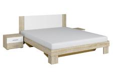 łóżko 160cm  z szafkami nocnymi Vera 51 dąb sonoma/biel