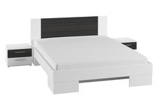 łóżko 180cm z szafkami nocnymi Vera typ 82 biały/czarny orzech
