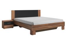 łóżko 160cm z szafkami nocnymi Vera  czerwony orzech/czarny