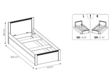 łóżko 90cm Novi TYP NVIZ01