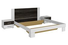 łóżko 160cm z szafkami nocnymi Vera Typ 51 biały/czarny orzech