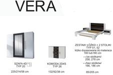 łóżko 180cm z szafkami nocnymi Vera Typ 52 biały/czarny orzech