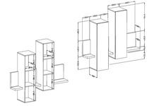 witryna z półką Bota TYP04 biały/beton colorado