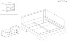 łóżko 180cm z szafkami nocnymi Vera typ 82 arctic pine jasny