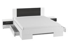 łóżko 160cm z szafkami nocnymi Vera typ 81 biały/czarny orzech