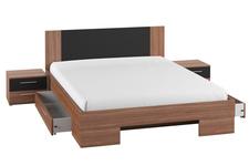łóżko 160cm z szafkami nocnymi Vera typ 81 czerwony orzech/czarny