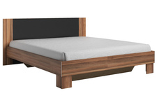 łóżko 180cm z szafkami nocnymi Vera  czerwony orzech/czarny